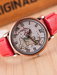 Sport Watch Dress Watch Fashion Watch Wrist watch Quartz Genuine Leather Band Charm Casual World Map Multi-Colored