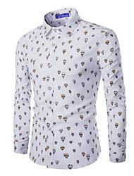 Camisa De los hombres Estampado Casual-Algodón-Manga Larga-Azul / Blanco