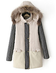 Manteau Rembourré Aux femmes Manches Longues Simple / Street Chic Coton