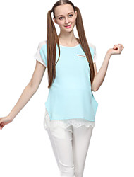 Pregnant Fashion Women Round Neck Short Sleeve Blouse T Shirt Casual Loose Cozy Lacing Maternity Dress