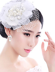 Bride's White Lace Flower Veil Wedding Fascinators Hat Hair Jewelry