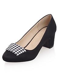 Calçados Femininos-Saltos-Saltos-Salto Grosso-Preto / Rosa-Flanelado-Casual