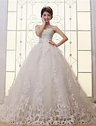 Ball Gown Wedding Dress-White Cathedral Train Sweetheart Satin / Tulle