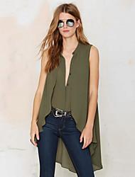 Women's Solid Green Blouse,V Neck Sleeveless