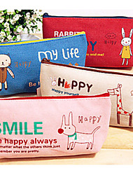 Cute Animals Canvas Makeup Stationery Bags The Trumpet