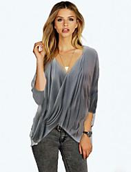 Damen Solide Street Schick Lässig/Alltäglich T-shirt,V-Ausschnitt Sommer ¾-Arm Grau Baumwolle / Polyester Mittel