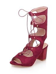 Women's Shoes Chunky Heel Open Toe Sandals Dress Black / Red