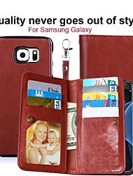 Pour Porte Carte Portefeuille Avec Support Clapet Magnétique Coque Coque Intégrale Coque Couleur Pleine Dur Cuir PU pour SamsungNote 5