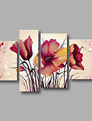 "Stretched (ready to hang) Hand-painted Oil Painting 52""x36"" Canvas Wall Art Modern Flowers Roses Pink"