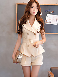 Women's Solid Beige Blazer,Simple Peaked Lapel Sleeveless