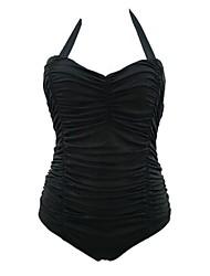 Women's Bandage Bouffant Casual Large Size Halter Bikinis,Solid Push-up