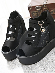 Women's Shoes Leatherette Summer Peep Toe / Round Toe Outdoor / Casual Wedge Heel Black / White