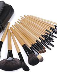 Hot Sale Professional Makeup Brush Set with 24Pcs Wool Brushes and Black Bag