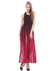 Women's Sexy / Maxi Color Block Swing Dress , Halter Maxi Polyester