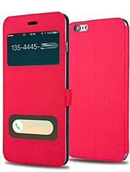 luxe fenêtre de vue corps plein de protection étui en cuir flip avec support pour 6s iphone plus / iphone 6 plus