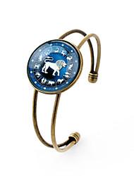 Lureme® Time Gem The Zodiac Series Leo Disc Cuff Bangle Bracelet for Women and Girl