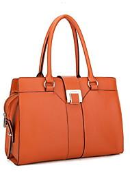 NUCELLE Real Genuine Cowhide Leather Purse Satchel Shoulder Bag Shopper Handbag Briefcase Lock Women New-Orange