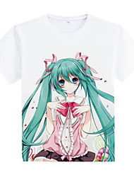 Inspired by Vocaloid Hatsune Miku Anime Cosplay Costumes Cosplay T-shirt Print White Short Sleeve Coat
