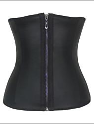 Shaperdiva Women's Black Sexy Slim 3 Hooks Smooth Latex Waist Trainer Steel Bone Workout Corset Body Shaperwear