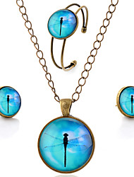 Lureme® Time Gem Series Simple Vintage Style Blue Sky with Dragonfly Pendant Necklace Stud Earrings Bangle Jewelry Sets