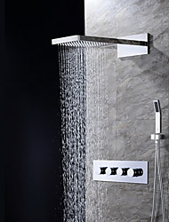 Contemporary Wall Mounted Waterfall / Rain Shower / Handshower Included with  Ceramic Valve Four Handles Three Holes for  Chrome , Shower