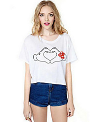 Women's Casual/Daily Cute Summer T-shirt,Print Round Neck Short Sleeve White Cotton Medium