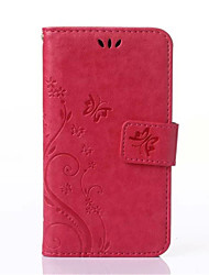 For Samsung Galaxy Case Card Holder / Wallet / with Stand / Flip / Embossed Case Full Body Case Butterfly PU Leather Samsung S4 Mini