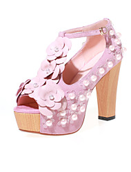 Women's Shoes Chunky Heel Heels / Peep Toe / Flower / Platform Sandals Party & Evening / Dress (Genuine leather)