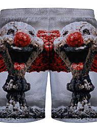 Men's Print Casual / Sport Shorts,Cotton White