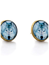 Lureme® Vintage Jewelry Time Gem Series Wolf Antique Bronze Disc Stud Earrings for Women and Girl