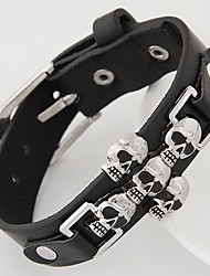 Unisex European Style Concise Fashion Metal Skull Leather Bracelet Christmas Gifts