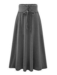 Mulheres Saias Maxi Vintage / Moda de Rua Algodão / Rayon Micro-Elástica Mulheres