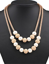 Women's Layered Necklaces Pearl Necklace Statement Necklaces Pearl Alloy Fashion Statement Jewelry Cute Style European Costume Jewelry