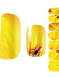 Fashion Beautiful Bee Sunflower Yellow Flower Nail Decal Art Sticker Gel Polish Manicure
