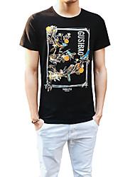 2016 new summer t-shirt t-shirt cotton shirt vintage floral male slim bamboo cotton shirt