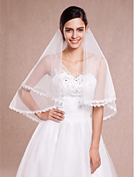 Ivory One Tire Elbow Wedding Veils with Fine Lace Trim ASV11