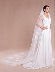 Wedding Veil One-tier Cathedral Veils Cut Edge / Lace Applique Edge
