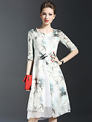 Women's Vintage Print Sheath Dress,Square Neck Knee-length Silk / Linen