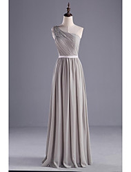 Floor-length Chiffon / Charmeuse Bridesmaid Dress A-line One Shoulder