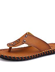 Men's Slippers Outdoor Casual Leather Flip-Flops Brown / Yellow / Khaki