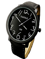 Men's Women's Unisex Fashion Watch Quartz Leather Band Black Brown Strap Watch