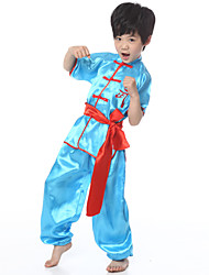 Performance Outfits Children's Performance Satin Sash/Ribbon 3 Pieces Blue / White / Yellow Folk Dance Short Sleeve Pants / Top / Belt