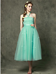 Tea-length Tulle Bridesmaid Dress A-line Halter with Flower(s)