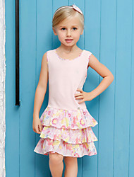Girl's Pink / Yellow Dress,Floral Cotton Summer