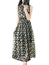 De las mujeres Gasa / Corte Swing Vestido Vintage / Chic de Calle Floral Maxi Escote Chino Poliéster
