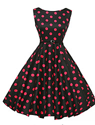 Women's Casual/Daily Vintage A Line Dress,Polka Dot Round Neck Knee-length Sleeveless Red Cotton Summer