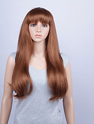 Fashion Synthetic Wigs Lace Front Wigs 28inch Straight With Bang Brown Heat Resistant Hair Wigs Women