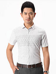 China famous Seven brand Men's Short Sleeve Shirt,Cotton Casual men shirts Polka Dot slim shirt for business