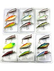 2 Sets  Mixed Plastic Minnow Popper and VIB 3pcs/Set Blister PVC Box Packaged Fishing Lures Random Colors