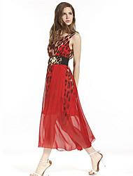 Women's Vintage / Boho Print Leopard Slim Hin Thin Classic Sheath Dress,Round Neck Midi
